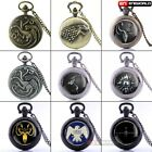 Vintage Game Of Thrones Pocket Watch Quartz Pendant Vintage Necklace Chain Gift image