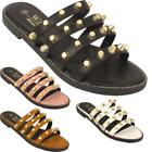 Womens Studded Open Toe Slip On Ladies Summer Fashion Casual Slippers Sandals UK