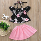 2pcs Toddler Baby Kids Girls Clothes Floral Print Tops+Skirt Set Outfits 2-6T