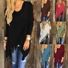 Women Long Sleeve Blouse Tassel Hem Tunic Ladies Loose T-Shirt Tops Cardigan