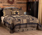 BLACK CHECK STAR QUILT-choose size & accessories-Tan Primitive Rustic VHC Brands image