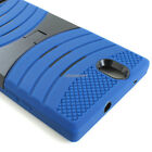 For ZTE Lever Z936L Rugged Shockproof Hybrid Curve Kickstand Hard Case Cover