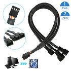 1/2PCS 1 To 3 Way Splitter Sleeved 4-Pin PWM Connector Fan Extension Cable Black