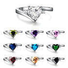 10 Colors Heart-shaped Sapphire Wedding Promise Ring White Gold Jewelry Size6-11 image