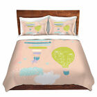 DiaNoche Designs Metka Hiti Balloons Clouds Pink Microfiber Duvet Covers