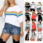 Ladies Womens Rainbow Printed Casual Oversized Baggy Stretchy Basic T Shirt Top