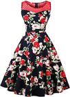 LunaJany Women's Floral 1940s Vintage Audrey Hepburn Pleated Cocktail Party