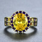 Exquisite Oval Cut Yellow Topaz Edge Blue Sapphire Ring 18k Gold Filled Jewelry
