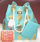 SUN N SAND CANVAS TOTE BOAT BEACH BAG AQUA or CORAL GOLD PIN