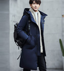 Men Thicken Long Coated Cloth Down Coat Slim Fit Korea Hooded Business Formal