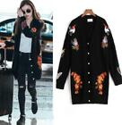 Women's Loose Embroidery Floral Knitting Parka Outwear Cardigan Coat Mid Long