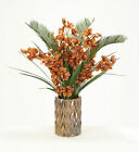 Cymbidium Orchids and Cycas Palm and Orchid Foliage in Zi...