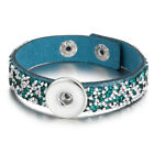 18mm Snap Button Bracelet&Bangles Rhinestone Charms Leather Bracelets for Women