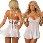 White-Women's-Sexy-Lingerie-Sleepwear-Lace-Romantic-Wedding-Night-Babydoll-Set