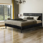 Twin/Full/Queen Size Faux Leather Platform Bed Frame Wood Slats & Headboard