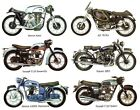 6 Vintage Motorcycle Motor Bike Select-A-Size Ceramic Waterslide Decals Ox image