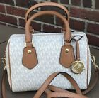 NWT Michael Kors Aria MK Signature Vanilla SM Satchel Crossbody  Bag or  WALLET