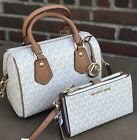 NWT Michael Kors Aria MK Signature Vanilla SM Satchel Crossbody  Bag + WALLET