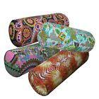 Bolster Cover*Paint Cotton Canvas Neck Roll Tube Yoga Massage Pillow Case*AF6