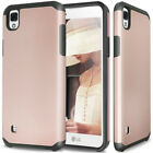 For LG Tribute HD-X STYLE Slim Hybrid Armor ShockProof Hard Case Cover
