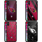 OFFICIAL NFL 2017/18 ARIZONA CARDINALS BLACK HYBRID GLASS CASE FOR iPHONE PHONES