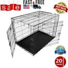 "XS-XXL Dog Crate Kennel 48""/42""/36""/30""/24"" Folding Pet Cage Metal 2 Doors"