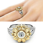 Women Silver Floral Round Diamond Flower Gold Sunflower Jewelry Party Rings Band image