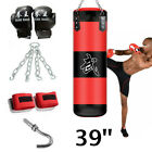 Heavy Boxing Punching Bag Training W- Gloves Bandages Kicking MMA Workout Empty