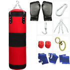 Heavy Boxing Punching Bag Training W/ Gloves Bandages Kicking MMA Workout Empty