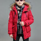 2018 Winter Kids Boys Warm Jacket Overcoat Hooded Puffer Coat Faux Fur Outerwear