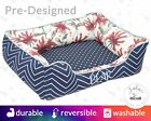 Floral Dog Bed Designer Pet Bed | Flowers Navy Blue Scarlet Red Timeless