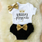 3PCS Newborn Baby Girl Outfit Clothes Tops Romper+Tutu Shorts Pants Set US Stock