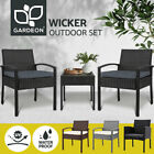 Gardeon Outdoor Furniture Setting 3 Piece Patio Wicker Rattan Chair Table Garden