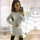 UK Womens Fluffy Long Sleeve Sweater Top Ladies Bodycon Mini Jumper Dress Blouse