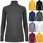 Womens Ribbed High Turtle Polo Neck Stretchy Long Sleeves Ladies Tee Shirt Top