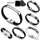 Personalized Engraved Custom Leather Stainless Steel Bracelet Mens Jewelry Gifts