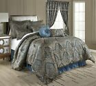 Chezmoi Collection 9pc Blue Jacquard Paisley Medallion Oversized Comforter Set image