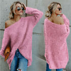 Women Knitwear Sweater Top Off The Shoulder Loose Sweatshirt Jumper Baggy Blouse