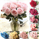 1-50 Heads Artificial Silk Rose Flowers Fake Bouquet Home Wedding Party Decor Uk