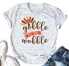 VILOVE Women's Gobble Til You Wobble Tshirts Women Funny Blessed Raglan Cute