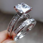 Women Princess White Cz Sterling Silver Wedding Band Engagement Ring Set Sz 5-10