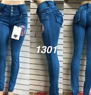 Tush push colombian 1301 teal blue stretch levanta cola high waist skinny jeans