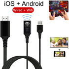 USB Wired + Wireless WiFi HDMI Cable Display Dongle for iPhone iOS Android to TV