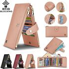 Genuine Leather Women Wallet Credit Card Holder Zipper Long Purse RFID Blocking image