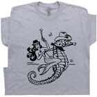 Mermaid T Shirt Cowgirl Vintage Graphic Tee Cool Country Outlaw Retro Seahorse image