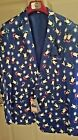 Suslo Couture Holiday Christmas Penguin Blazer Sport Coat Ugly Sweater XL(44)