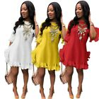 Womens Flare Sleeve Ruffled Mini Dress Solid Casual Loose Summer Party Sundress