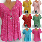 Plus Size Women Summer Loose Shirt Tops Print Short Sleeve Casual Tee Blouse Lot