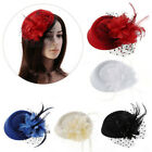 Women Hair Clip Hairpin Headband Wedding Fascinator Ladies Hat Flower Feather