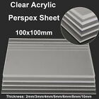 100x100mm Clear Acrylic Square Sheet Plastic Panel Cut plate thickness 2-10mm